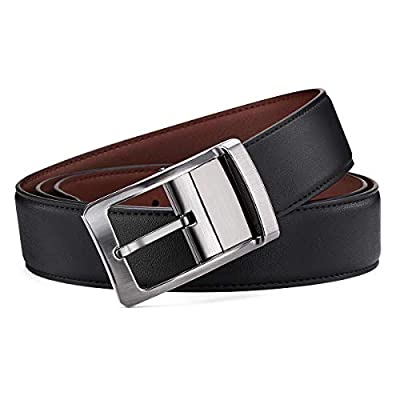 Belt for Men, Bestkee Men's Leather Belt Reversible and Adjustable, Genuine Leather Mens Dress Belt with Rotated Buckle