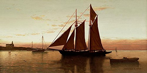 Boats Dyer - Sailboat Schooner Tall Ship Sunset Art print Giclee Canvas from original painting by Lawrence Dyer Fishing Boat Harbor Art 12