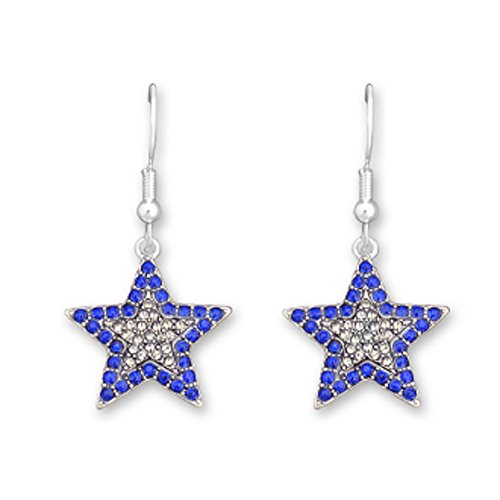 DALLAS COWBOYS BLUE & CLEAR Star Earrings - Embellished with Sparkling Blue & Clear Crystal Rhinestones.PERFECT FAN Gift to Celebrate the Cowboys