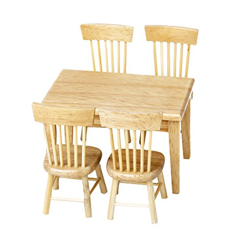 Lowpricenice Lowpricenice 5pcs Wooden Dining Table Chair Model Set 1 12 Dollhouse Miniature