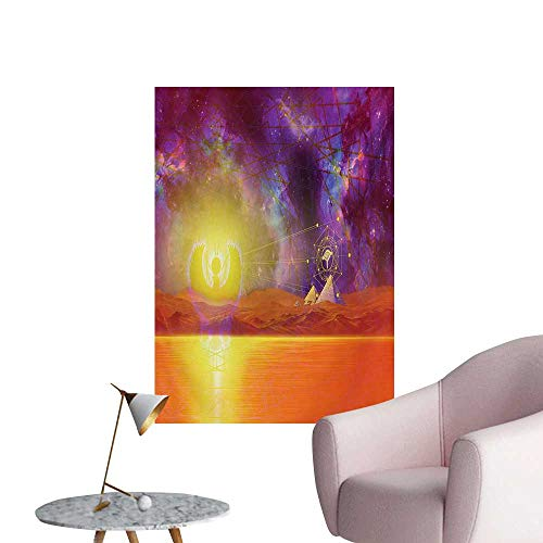 Anzhutwelve Egypt Photographic Wallpaper Secret Proportion of The Universe Sign with Triangles and Lines Scenery PrintPurple Orange W32 xL36 Funny Poster