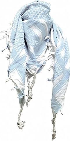Original Palestinian Scarf - White Light Blue (Palestinian Scarf For Men)