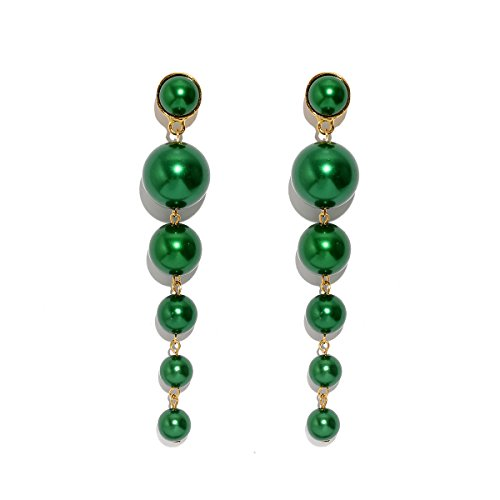 - MOOCHI Deep Green Simulated Pearl Beads Long Dangle Trendy Earings Elegant String Statement Wedding Party Gift for Women