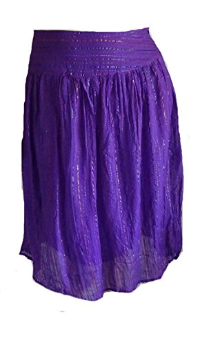 Sacred Threads Purple Broomstick Metallic Cotton Lined Skirt Small (Cotton Metallic Skirt)