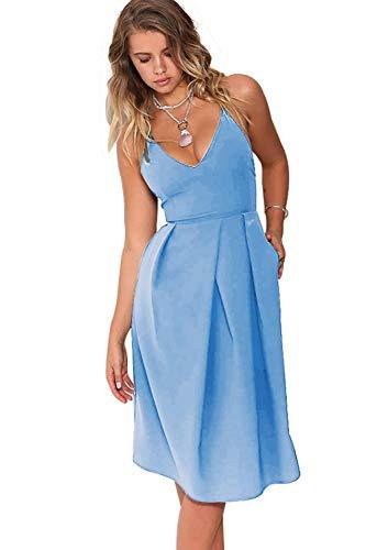 Eliacher Women's Deep V Neck Adjustable Spaghetti Straps Summer Dress Sleeveless Sexy Backless Party Dresses with Pocket (S, Denim Blue)
