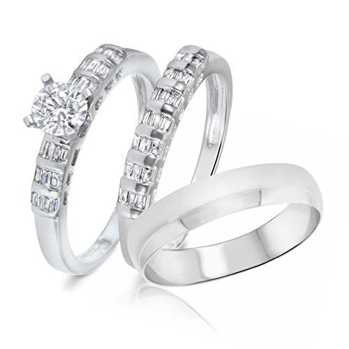 1 Ct Tw Baguette (1 Carat T.W. Princess, Baguette Cut Diamond Trio Wedding Set 10K White Gold- Size)