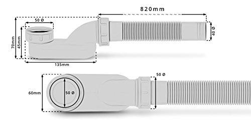 Flachsiphon Sifon Flach Syphon Extra Schmal Und Flach Ablaufgarnitur Mit Geruchsverschluss Für Freistehende Badewanne