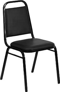 Flash Furniture 4 Pk. HERCULES Series Trapezoidal Back Stacking Banquet  Chair In Black Vinyl