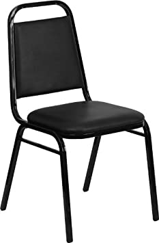 Flash Furniture HERCULES Series Trapezoidal Back Stacking Banquet Chair in Black Vinyl – Black Frame