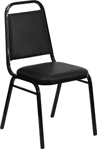 Flash Furniture 4 Pk. HERCULES Series Trapezoidal Back Stacking Banquet Chair in Black Vinyl - Black Frame by Flash Furniture
