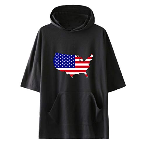 (FengGa Unisex Hooded Shirt Fashion American Independence Day Hooded Short Sleeve Flag Print Short Sleeve Jacket Shirt Black)