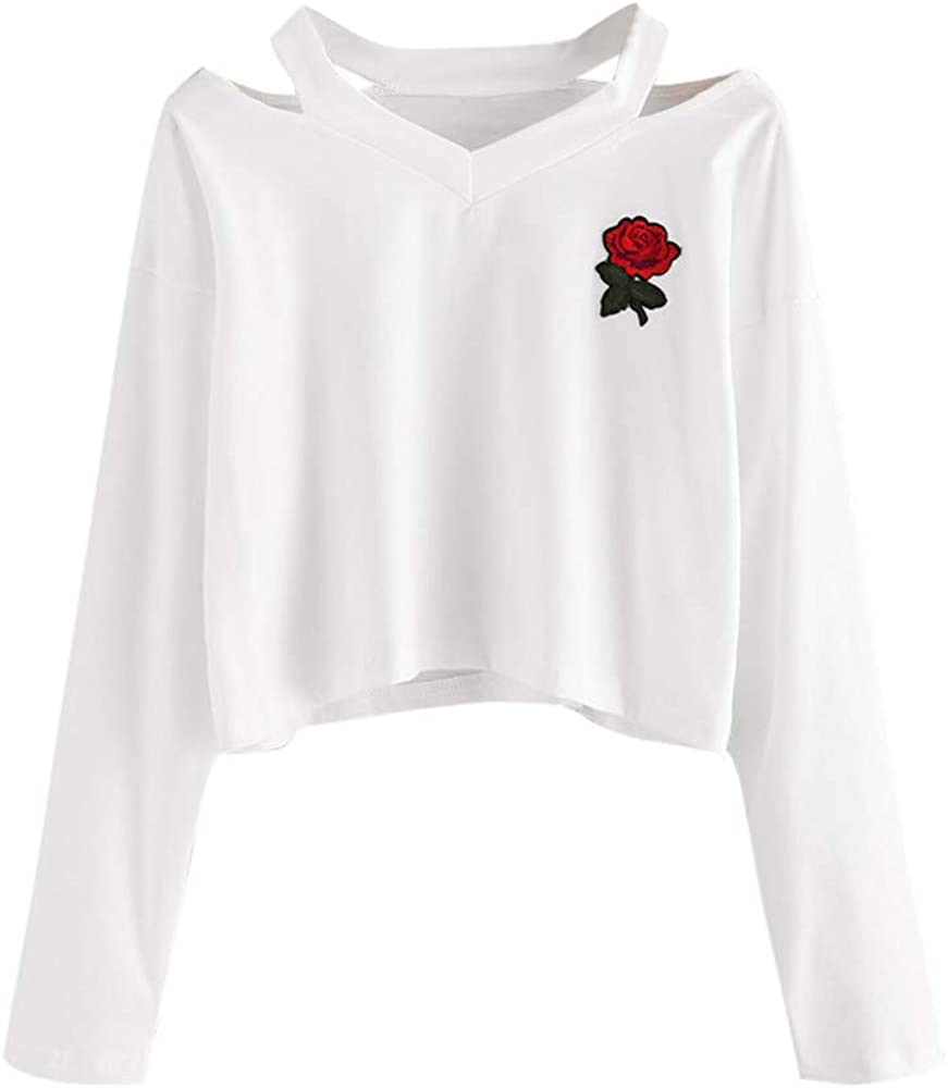 Kirbyates HOT Fashion Womens Long Sleeve Sweatshirt Rose Print Causal Tops Blouse