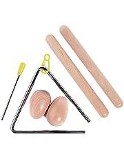 Juego de 5 instrumentos musicales de percusión para niños, incluye 1 par de palillos de madera con claves, 1 par de huevos de madera y 1 juego de percusión triangular musical