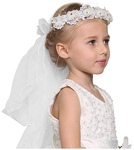 Bienvenu First Communion Flower Girl Bow Embroidered Wedding Veil Two -