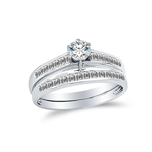 (Size - 7.5 - 14k White Gold Round Channel Small Graduated Bridal Engagement Ring Wedding Band CZ Cubic Zirconia (1.50cttw., .50ct. Center))