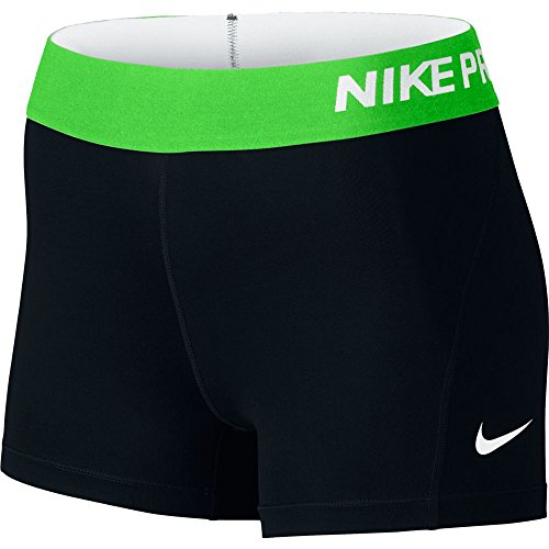 Nike Women's Pro Cool 3-Inch Training Shorts (Black/Action Green/White/X-Large)