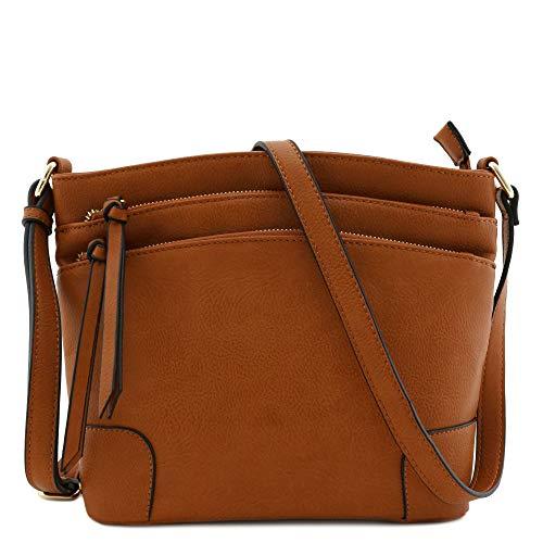 (Triple Zipper Pocket Medium Crossbody Bag Tan)