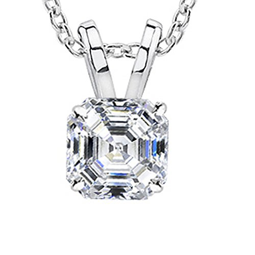 0.9 Carat 14K White Gold GIA Certified Asscher Diamond Solitaire Pendant Necklace E Color VVS1-VVS2 Clarity