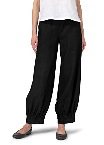 Vivid Linen Pleated Cuff Ankle Length Pants-S-Black by Vivid Linen