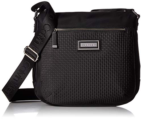 (Calvin Klein Belfast Woven Nylon Novelty Key Item Large Crossbody, Black/Silver )