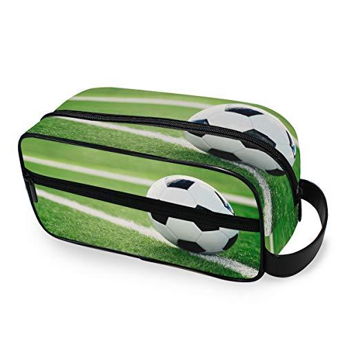 VOUSME Toiletry Bag Sport Football Lawn Pattern Portable Travel Toiletry Organizer with Zipper Dopp Kit Multifunction…