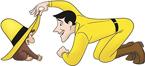 """7"""" Curious George Man in Yellow Hat Monkey Animal Removable Peel Self Stick Adhesive Vinyl Decorative Wall Decal Sticker Art Kids Room Home Decor Girl Boy Children Bedroom Nursery 7 x 3 inches tall"""