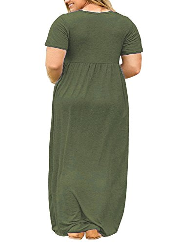 37b91dc9ab Nemidor Women Short Sleeve Loose Plain Casual Plus Size Long Maxi Dress  with Pockets - Luxury Beauty Store