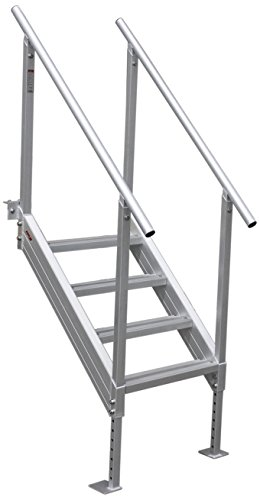 Extreme Max 3005.3843 Universal Mount Aluminum Dock Stairs-4 Step ()