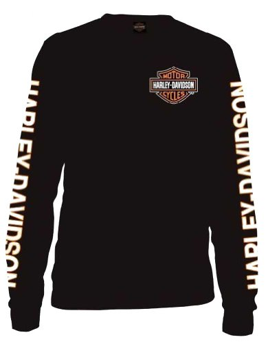 Harley-Davidson Men's Long Sleeve Orange Bar & Shield - Black Harley Davidson Shirt