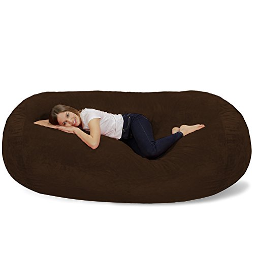 Chill Sack Bean Bag Chair: Huge 7.5' Memory Foam Furniture Bag and Large Lounger - Big Sofa with Soft Micro Fiber Cover - Brown Furry ()