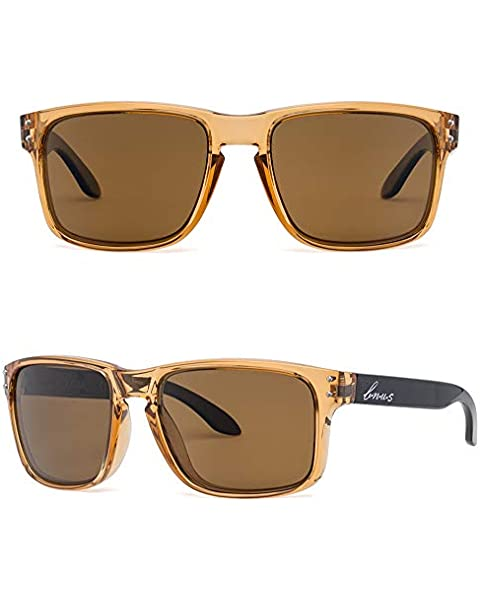 fa18162689b Bnus italy made classic sunglasses corning real glass lens w. polarized  option (Crystal Brown
