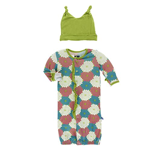 Apparel Layette (Kickee Pants Print Ruffle Layette Gown Converter and Knot Hat Set Tropical Flowers (Newborn))