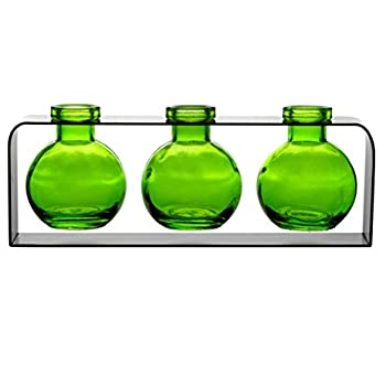 Unique Glass Bud Vases, Flower Vases, Decorative Small Glass Bud Vases G168VF Lime ~ 3 Ball Bottles with Stand ~ Decorative Glass Bottles, Home Decor Accents, Colored Glass Vases, Glass Floral Vases