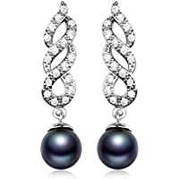 Saengthong Ladies 18K White Gold Filled Black Pearl Sapphire Dangle Earring Spiral Designer