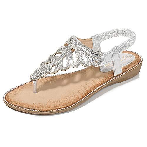 fereshte Women's Rhinestone Bohemian Beach Flat Dress Thong Sandals Silver Lable Size 42-260mm - US 10