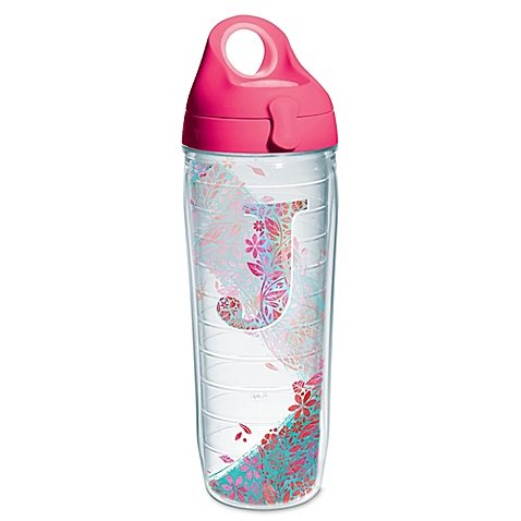 """""""J"""" Botanical Initial   Wrap Water Bottle with Lid   24 oz."""