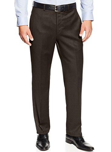 - Ralph Lauren Solid Dark Brown Flannel Flat Front Wool Dress Pants