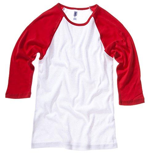 Bella+Canvas Baby rib 3/4 sleeve contrast raglan t-shirt White / Red XL