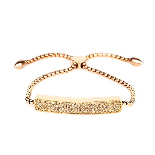 United Elegance Stylish Rose Gold Tone Designer Bar Bracelet with Stunning Champagne Embedded Swarovski Style Crystals and Adjustable Bolo