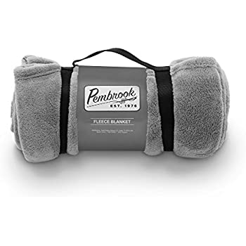Pembrook Fleece Travel Blanket w/ Handle - Gray - Super Soft and Warm Plush Coral Micro Fleece – Sizes 51 X 63 inches – Great for couch, bed, sofa, loveseat, travel, picnic, flight