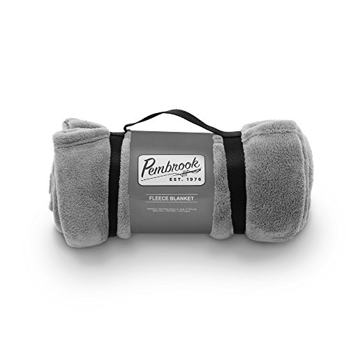 Pembrook Fleece Travel Blanket w/ Handle - Gray - Super Soft and Warm Plush Coral Micro Fleece – Sizes 51 X 63 inches – Great for couch, bed, sofa, loveseat, travel, picnic, flight (Faux Shearling Hipster)
