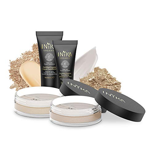 INIKA Trial Pack, All Natural Make-up Discovery Kit - 2 Mineral Foundation SPF25 (2 x 0.7 g), Certified Organic Liquid Foundation 4 ml, Certified Organic Pure Primer 4 ml (Light/Medium)