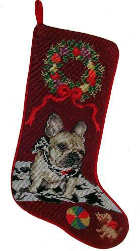French Bulldog Dog Needlepoint Christmas Stocking Bulldog Needlepoint