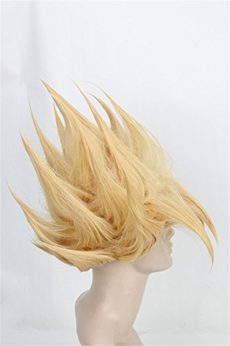 [Topcosplay Unisex Short Cosplay Wig for Men Women Blonde Styled Wig] (Super Saiyan Goku Wig)