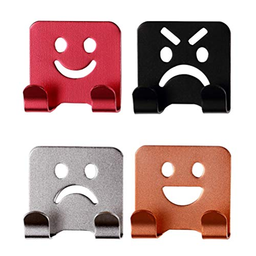Vosarea Wall Mount Adhesive,4Pcs Emoticon Smile Face Adhesive Towel Hooks Family Robe Hanging Hooks Hats Bag Door Wall Hanger