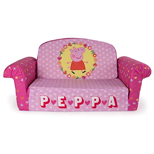 Marshmallow Furniture, Children's 2 in 1 Flip Open Foam Sofa, Peppa Pig, by Spin -