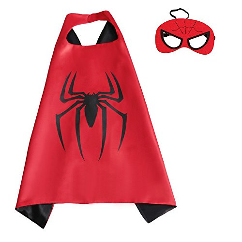 Spiderman Cape and Mask Set for Boys Girls Kids Comic Halloween Christmas Costume Xmas Birthday Gift
