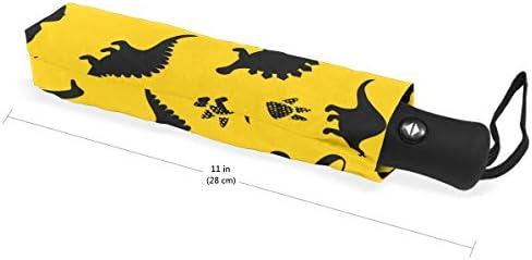 Akiraki 折りたたみ傘 レディース 軽量 ワンタッチ 自動開閉 メンズ 日傘 UVカット 遮光 恐竜 アニマル 動物柄 イエロー 黄色 かわいい 折り畳み傘 晴雨兼用 断熱 耐強風 雨傘 傘 撥水加工 紫外線対策 収納ポーチ付き