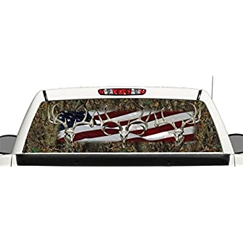 Amazoncom Truck SUV Deer Skull Camo Flag Rear Window Graphic - Rear window hunting decals for trucksamazoncom truck suv whitetail deer hunting rear window graphic