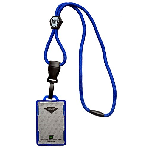 Identity Card Holders - Specialist ID Heavy Duty Blue Lanyard and Identity Stronghold IDSH2004-001B Blue 2-Card Shielded Badge Holder